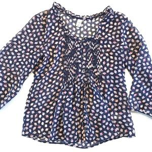 Old Navy floral sheer chiffon blouse, blue, tan S